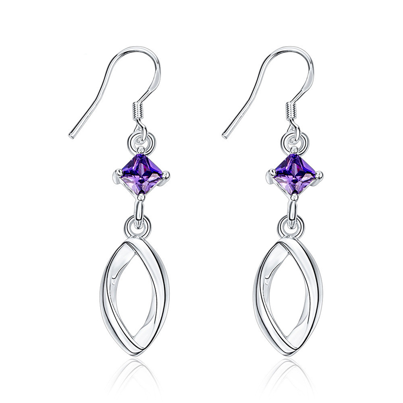 New Arrival Simple Design Jewelry Silver Plated Cubic Zirconia Purple Earrings For Women