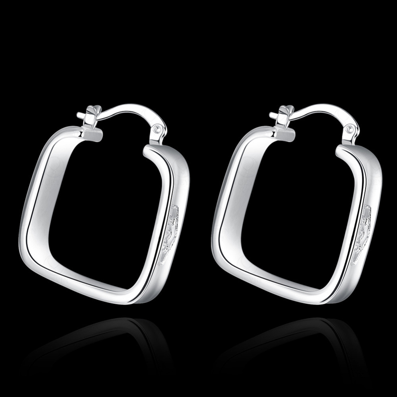 New Arrival 925 Jewelry Earrings Silver plated Fashion Jewelry Square Earrings For Women