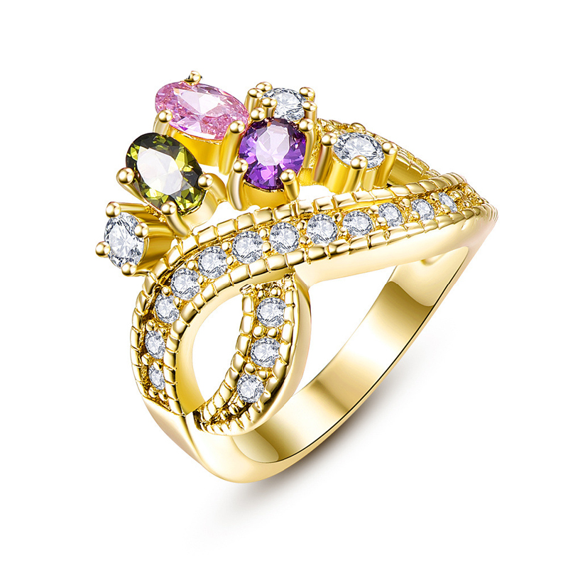 New Trendy Style Factory Price Rings Rose/Yellow Gold plated with Rhinestones Crystals for Women