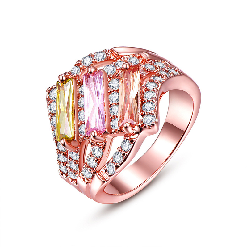Hot Sale New Trendy Style Rings Rose Gold plated with Rhinestones Crystals for Women