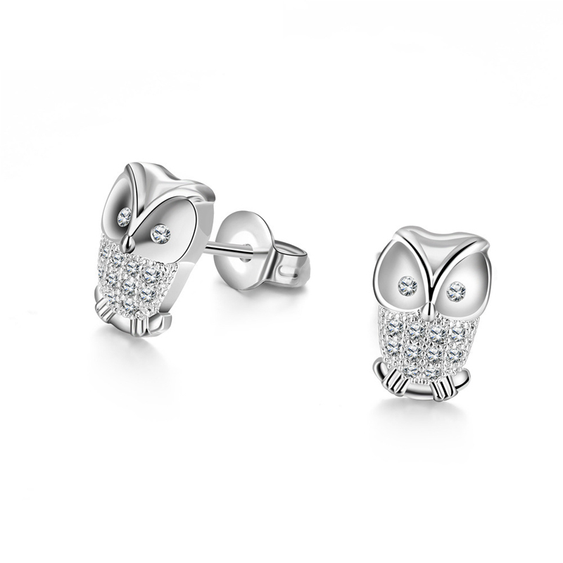 Fashion Jewelry Charms Owl Earrings Studs Earings Turkish Austrian Crystal Earrings For Girls