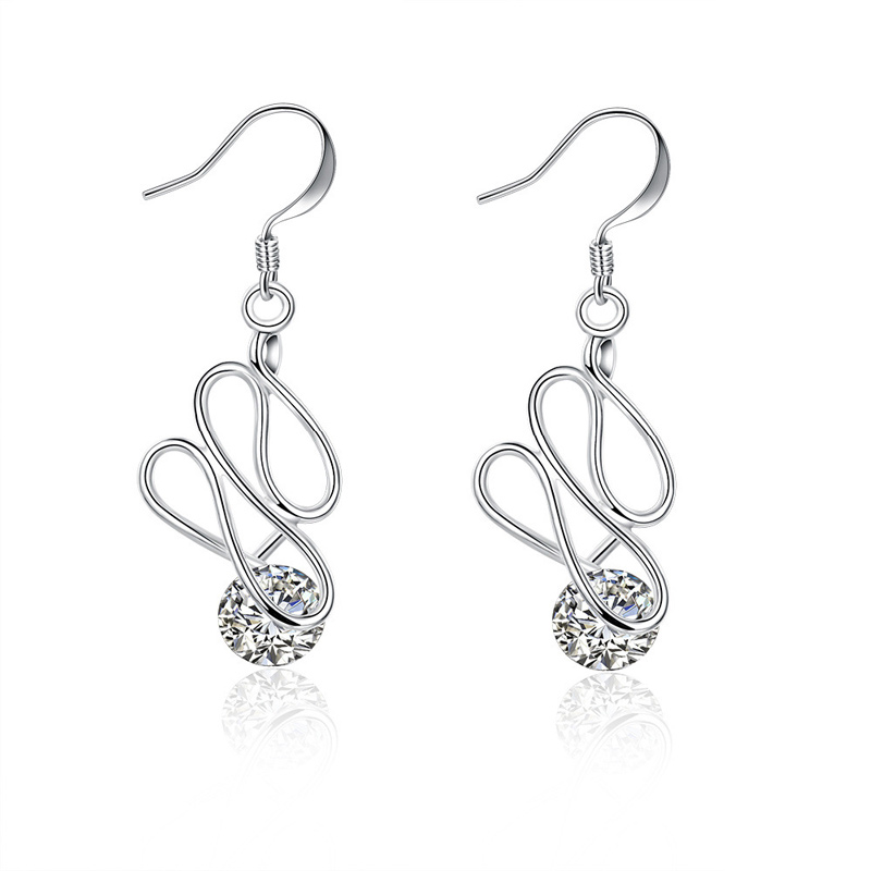 Trendy Earrings Classic Silver Plated Waterdrop Inlaid Cubic Zirconia Dangle Earring Fashion Jewelery for Women