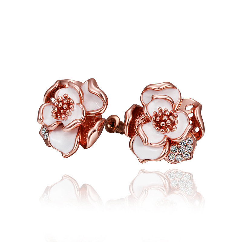Korea Style Earrings Beautiful Rose Stud Gold plated Flower Earrings for Women