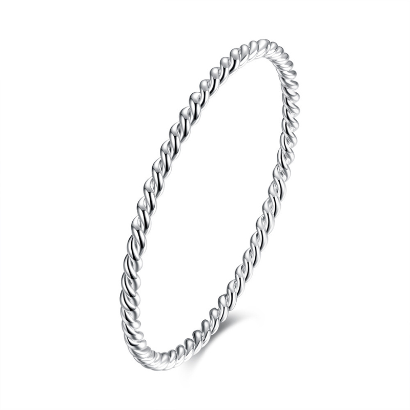 Top Quality Silver Color Jewelry Bangle 925 Sterling Silver Pulseras Twisted Round Bracelet for Women