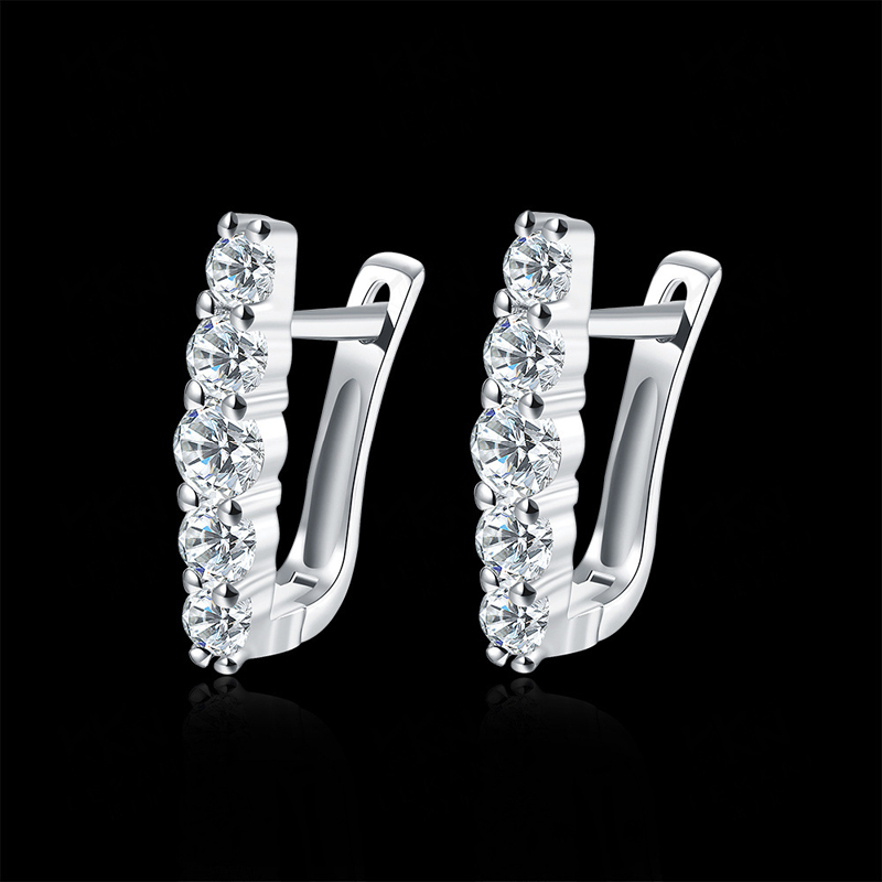 New Fashion Jewelry Simulated Platinum Earings Gold Plated Earrings For Women Trendy Crystal Stud Earrings