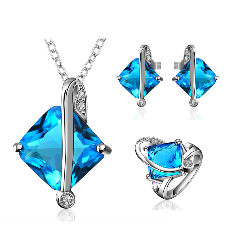 Hot Sale Fashion Jewelry Extravagant Party Jewlery Set with Necklace&Ring&Earrings for Lady Fashion Big Crystal Set