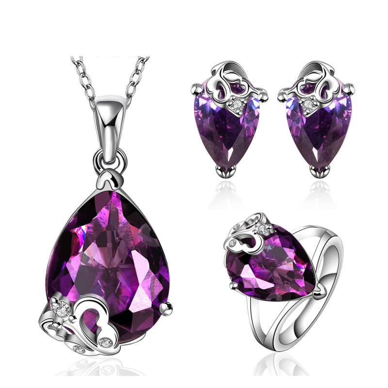 Luxury Water Drop Purple Crystal AAA CZ Jewelry Sets For Women Earring/Pendant/Ring Fashion Bridal for Women