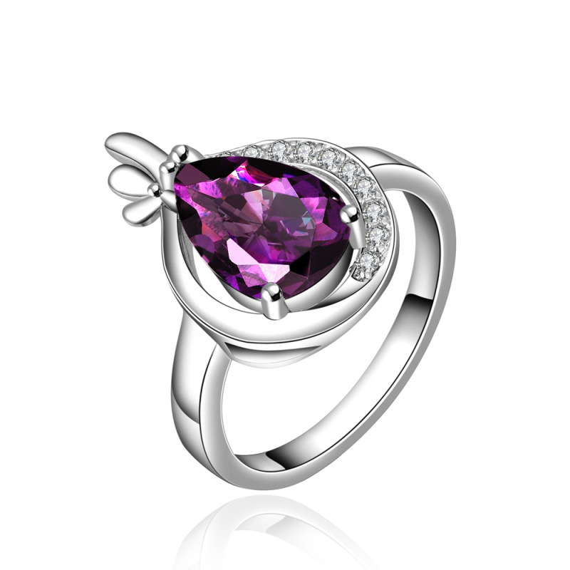 Fashion Jewelry 925 Silver Purple Glass Rhinestone Lovers Rings For Wedding Engagement Accessories for Women