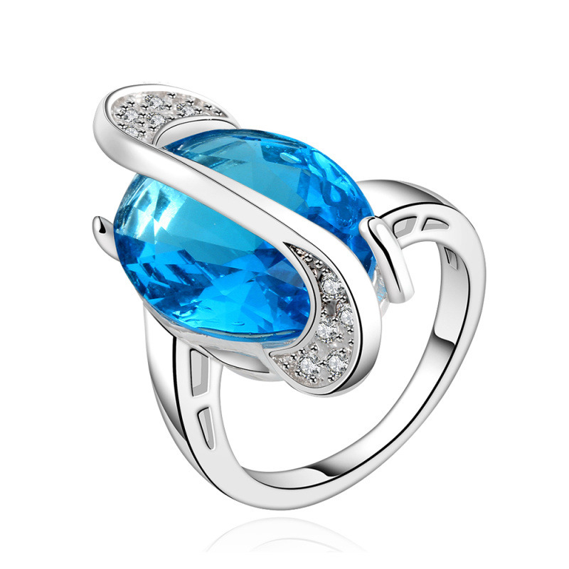 Water Drop Shaped Pure Blue Zircon Luxury Ring Water Drop Ring Romantic Dress Accessories for Women