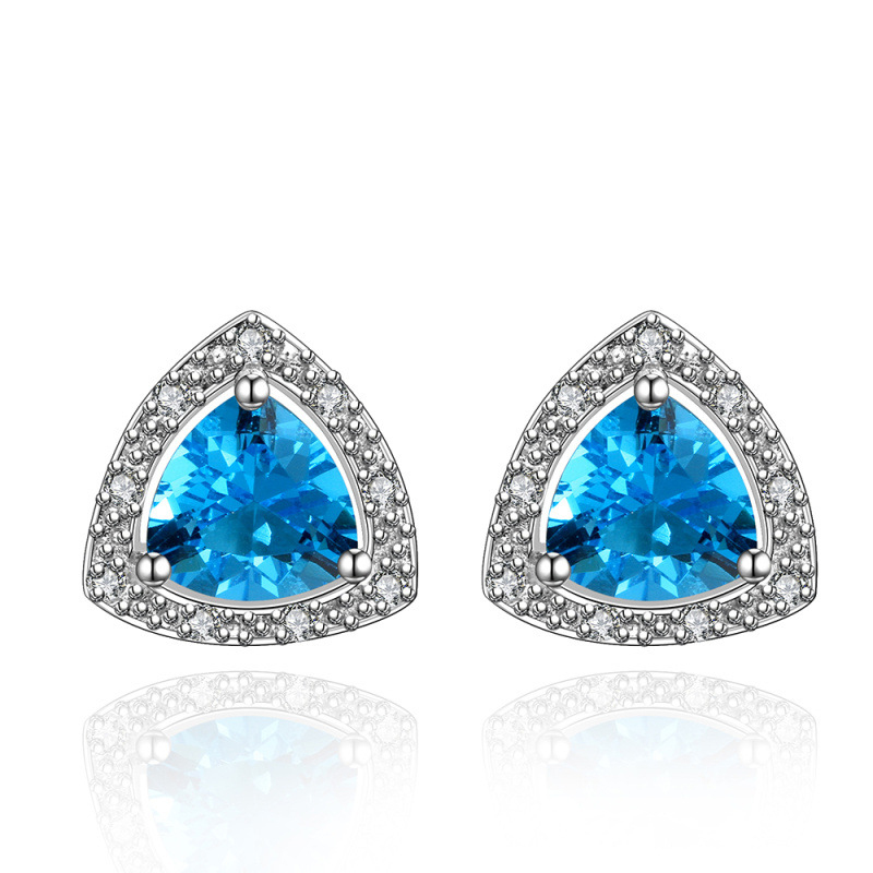 Fashion Brand Alloy plated Austrian Blue Crystal Earrings Rhinestone Water Drop Elegant Earrings for Lady