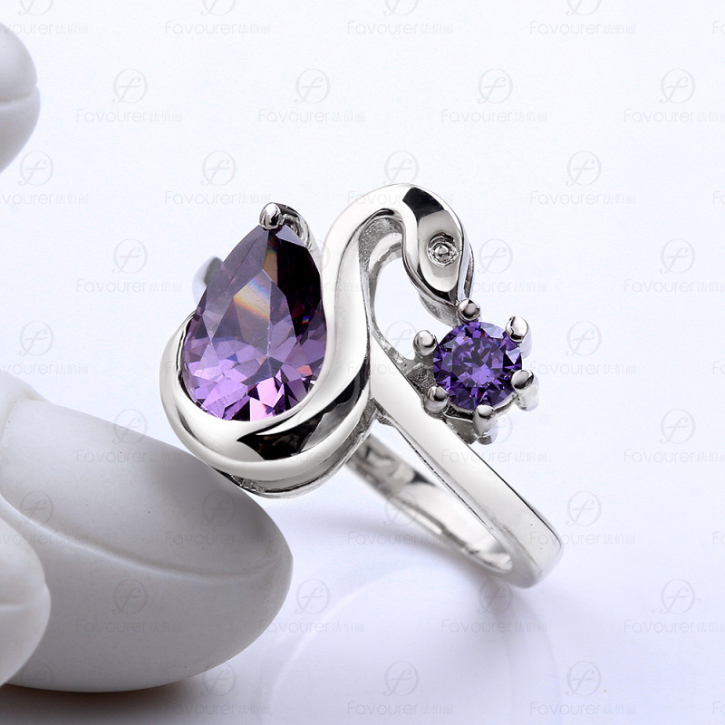 New Arrival Romantic Heart Shining Rings Glass 925 Silver Fashion Jewelry For Women