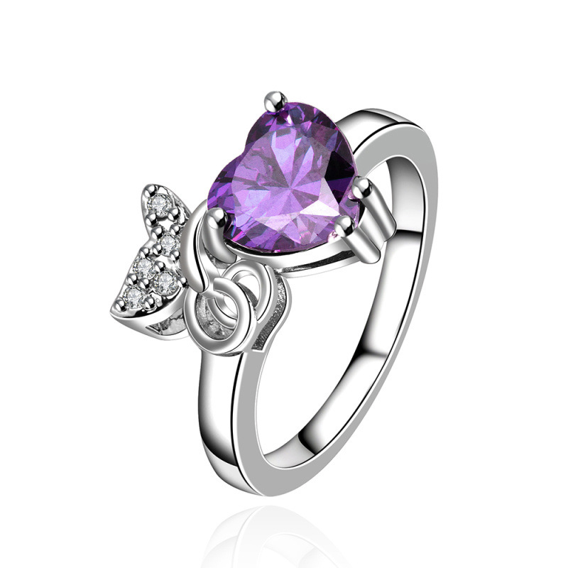 New Design Platinum Plated Lovely Butterfly Inlaid Cubic Zirconia with Heart Purple Crystal Rings Fashion Jewelry