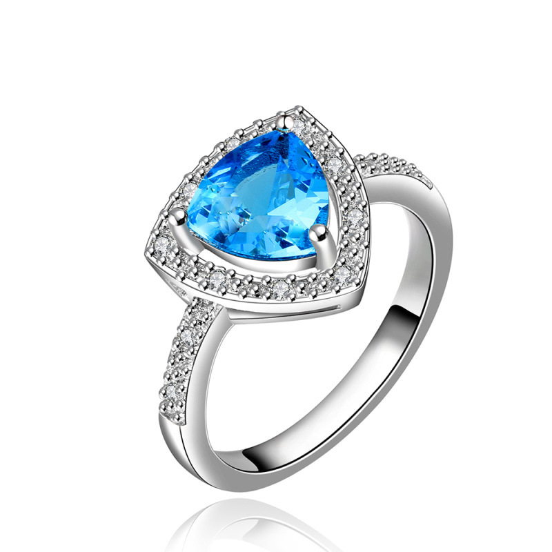 Hot Geometric Modeling Pure Blue Zircon Luxury Ring Geometric Ring Classic Gold Plated & Zirconia Women Dress Accessories
