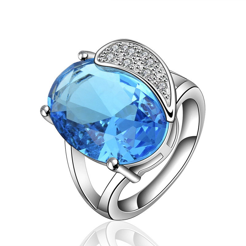 Creative Jewelry Platinum Plated Inlaid Zirconia & Blue Crystal Moon&Oval Charm Wedding Rings for Fashion Lady