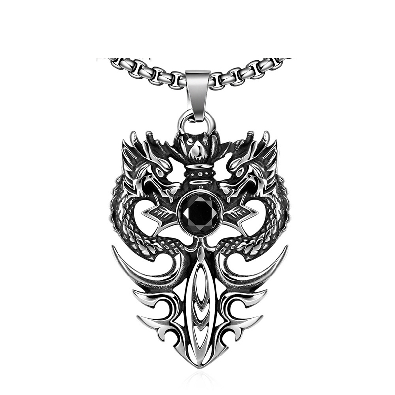 Dragon Badge Vintage New Fashion Casual Style Titanium Steelchain Pendant Cool Necklace For Men