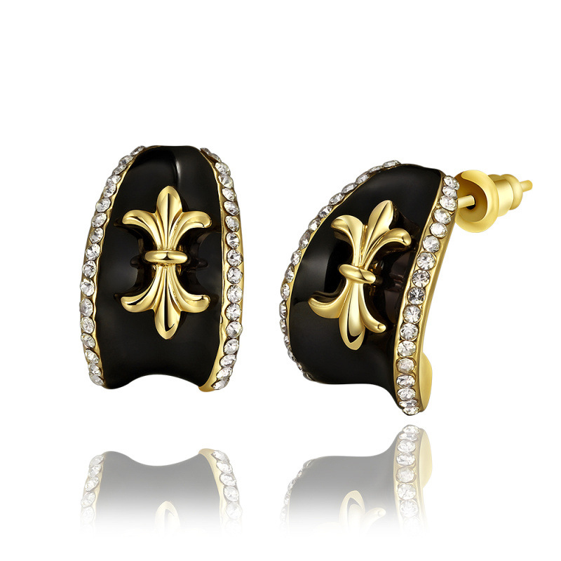 New Fashion Gold Plated Baked Black Enamel Unique Star Stud Earrings CZ Diamond Jewelry for Women