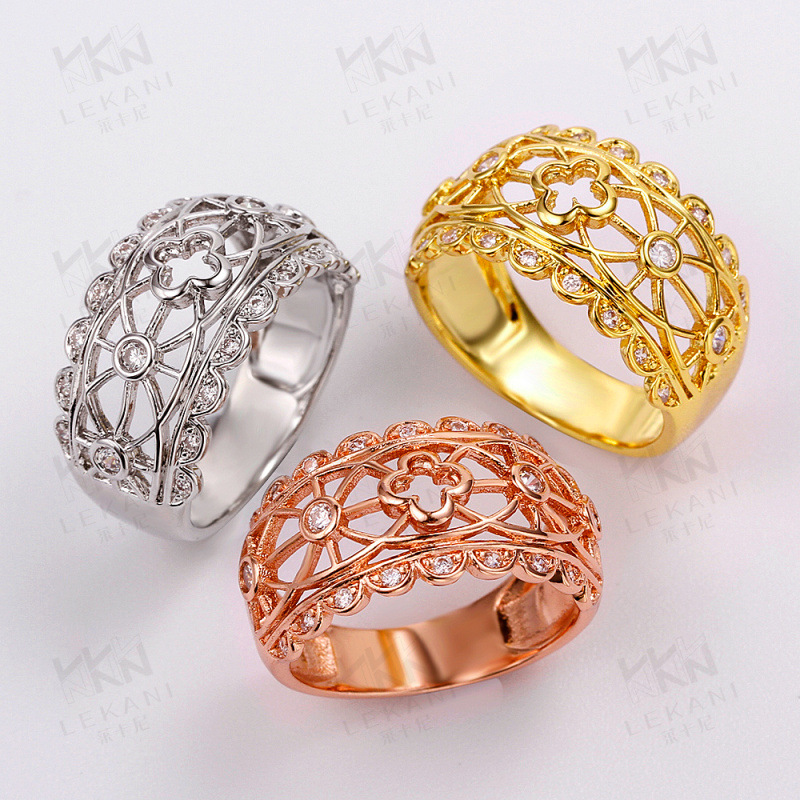 Romantic Design Yellow/Rose/White Gold Plated Hollowed Out Craftwork with CZ Diamond Ring Fashion Jewelry for Women