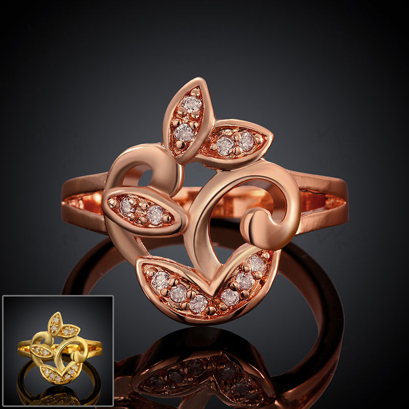 Hot!!!Yellow Gold/Rose Gold Plated Rings For Women Flower Shaped With Round Brilliant Cut CZ Diamonds Party Ring