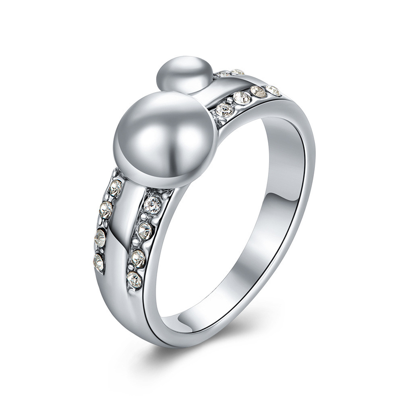Fashion Jewelry Pearl Ring with Zircon&Rhinestone Rings for Women