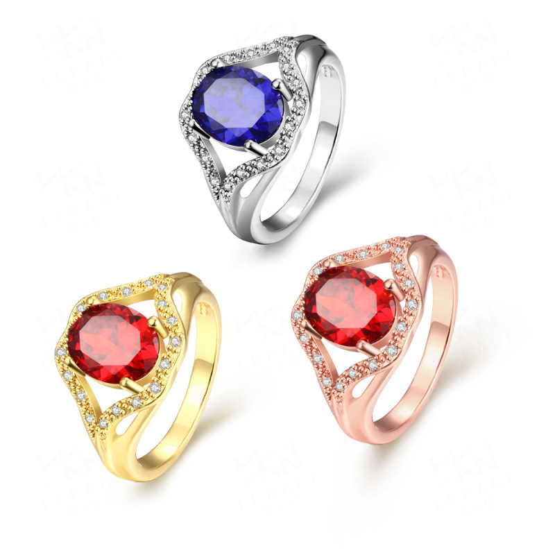 Hot Selling Yellow/Rose/White Gold Plated with Luxury Round Rings Wedding Jewelry for Women