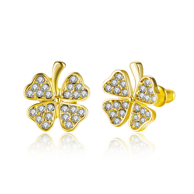 Fashion Plant Flower Stud Earrings Bohemia Gold Plated & Rhinestone Gift Accessories For Women