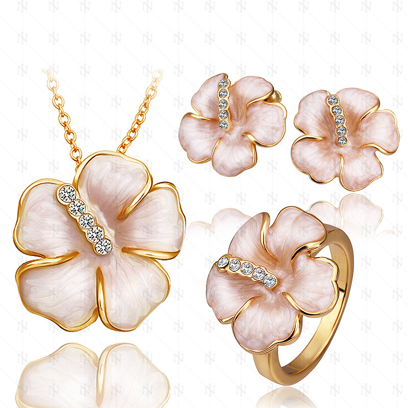 Fashion Rose Gold Plated Baked Enamel Pink/Black Flower Necklace&Earrings&Ring Jewelry Sets Bridal Jewelry for Women