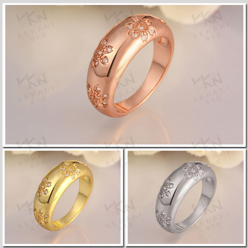 Top Quality Beautiful Design Gold plated CZ Diamond Finger Rings Fashion Jewelry Wedding Gift for Women