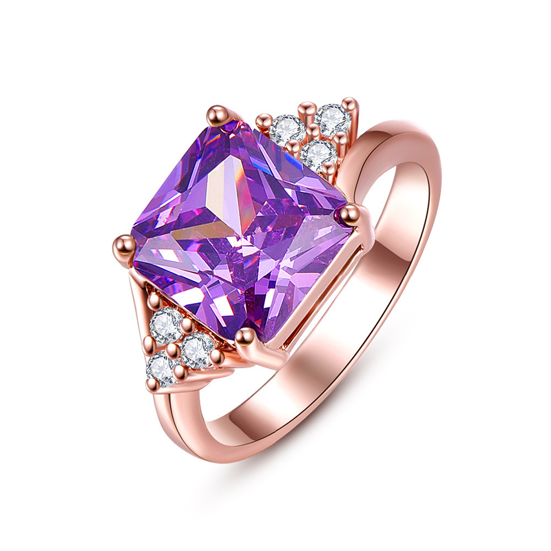 Fashion Jewelry Rings Square Purple Zircon Rose Gold plated Elegant Rings for Women