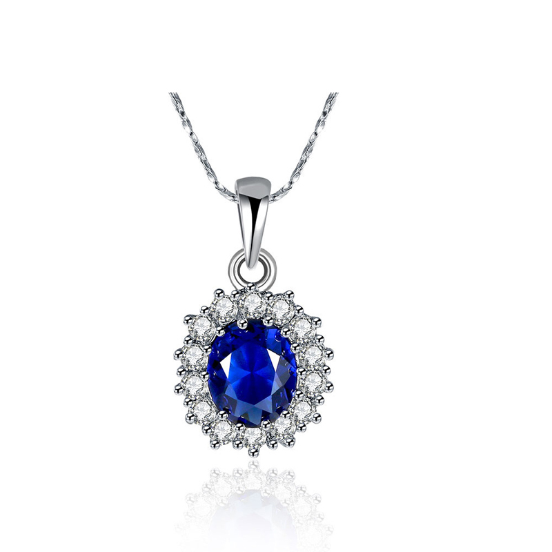 Fashion Jewelry Fashion Blue Crystal Necklace Solid 925 Sterling Silver Pendant for Party Time