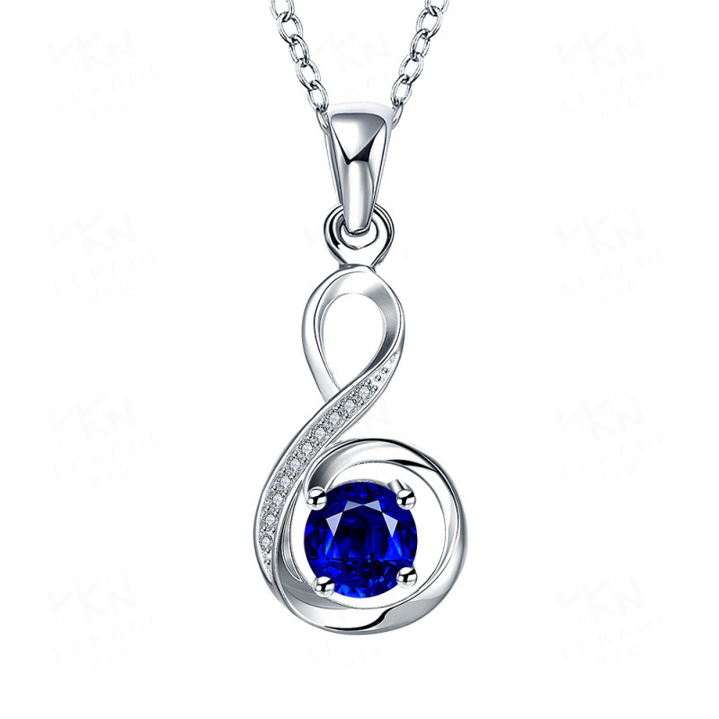Hot Trendy Elegant Silver-Plated with Luxury Blue/Red/Purple/White Crystal Pendant Jewelry for Women