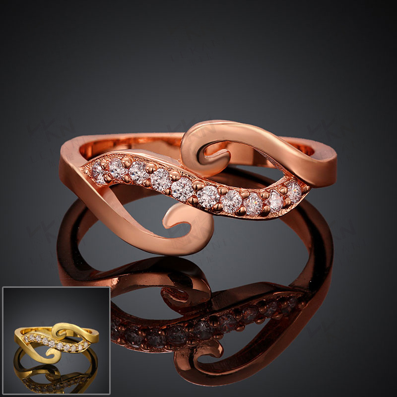 New Yellow Gold / Rose Gold Plated Rings Prong Setting Brilliant Cut CZ Diamond Gemini Style Wedding Ring for Women