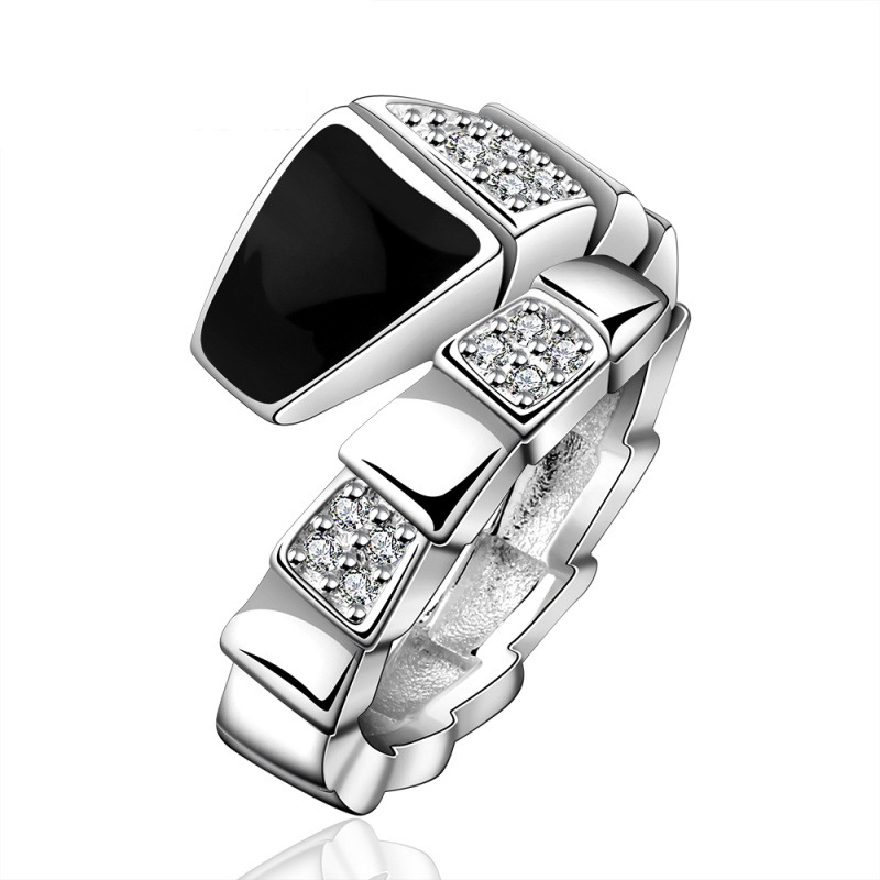 New Fashion Silver Plated Snake Ring Jewelry Shining Baked Black Enamel Austrian Crystal Ring Jewelry for Women