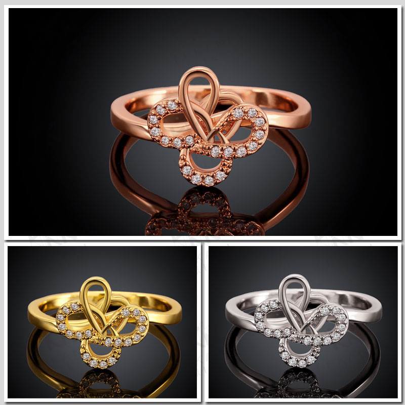New Design Yellow Gold / Rose Gold / White Gold Plated Rings Flower Shaped Round Brilliant Cut CZ Diamond Ring for Women