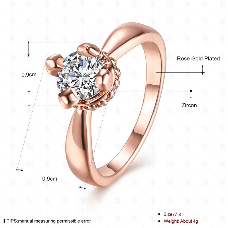 Fashion Jewelry Rose Gold plated Ring Elegant Rings for Women