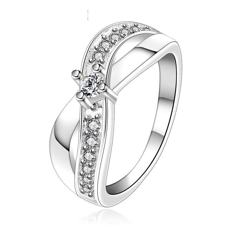 New Design Beautiful Creative Fashion Silver Plated Inlaid Stone Cross Rings Jewelry for Women