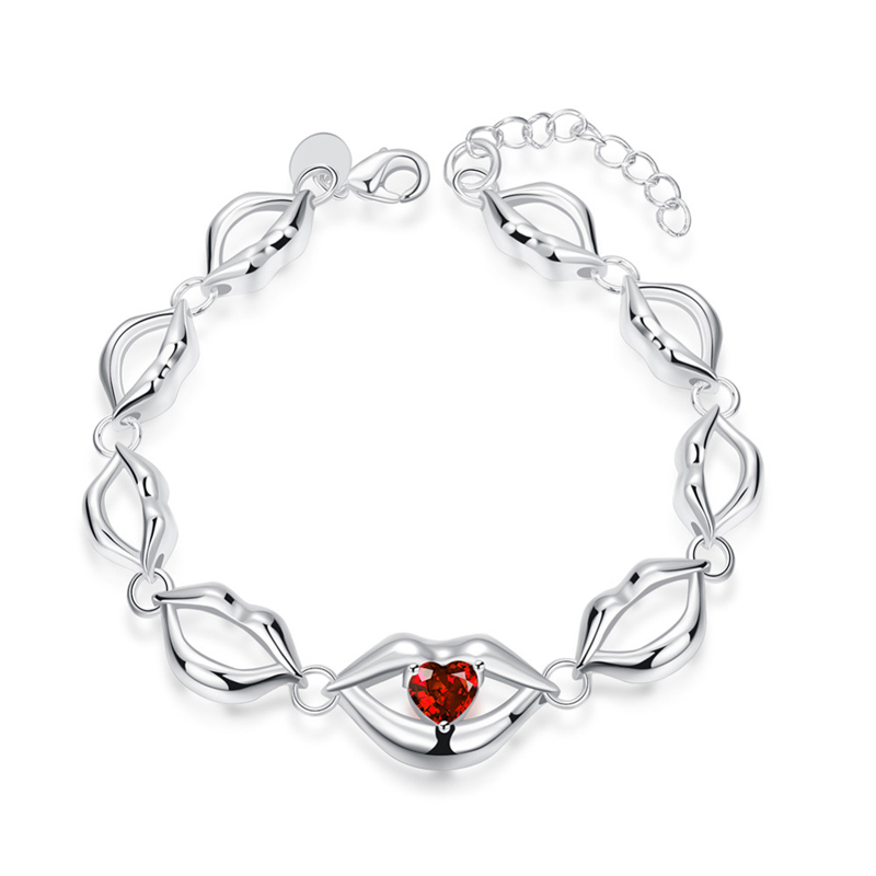 Fashion Jewelry Charm Lips Bracelet Women Unique Silver Plated Bracelets Free Shipping for Women
