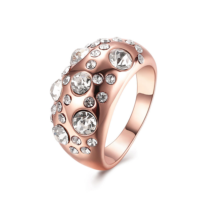 New Design Fashion Jewelry Rose Gold Plated Rings Crystals Rhinestone Rings For Women