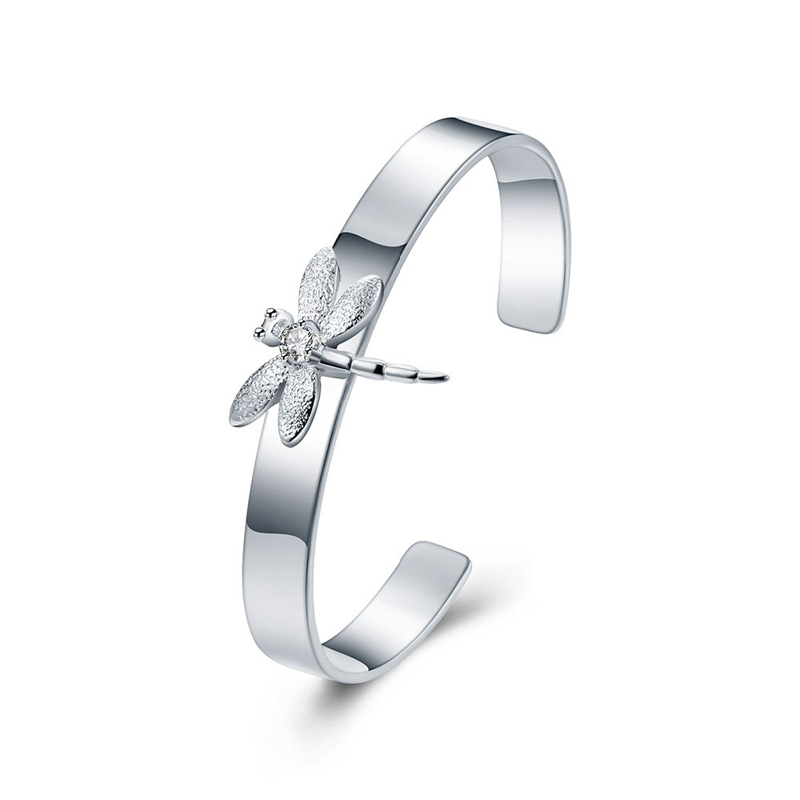 Fashion Silver Plated Open End Bangle Animal Design Dragonfly Shaped 925 Sterling Silver Bracelets for Lady