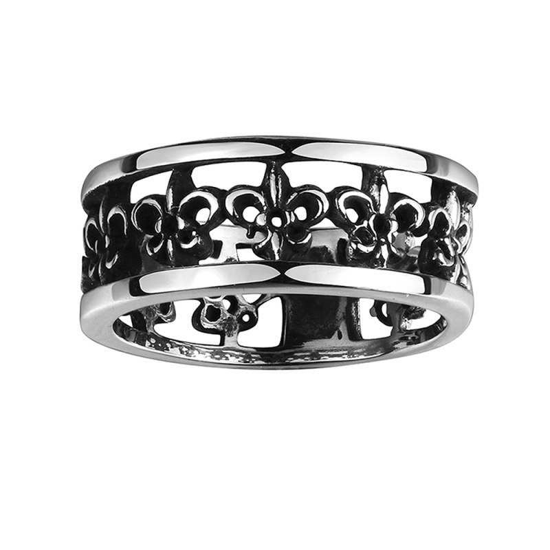 Fashion Jewelry Mens Rings High Quality 316L Stainless Steel Hollow Carved Round Ring For Men