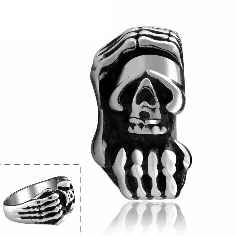 Hot Sale New Style Punk Rock Skull Skeleton Hand 316L Stainless Steel Rings for Men