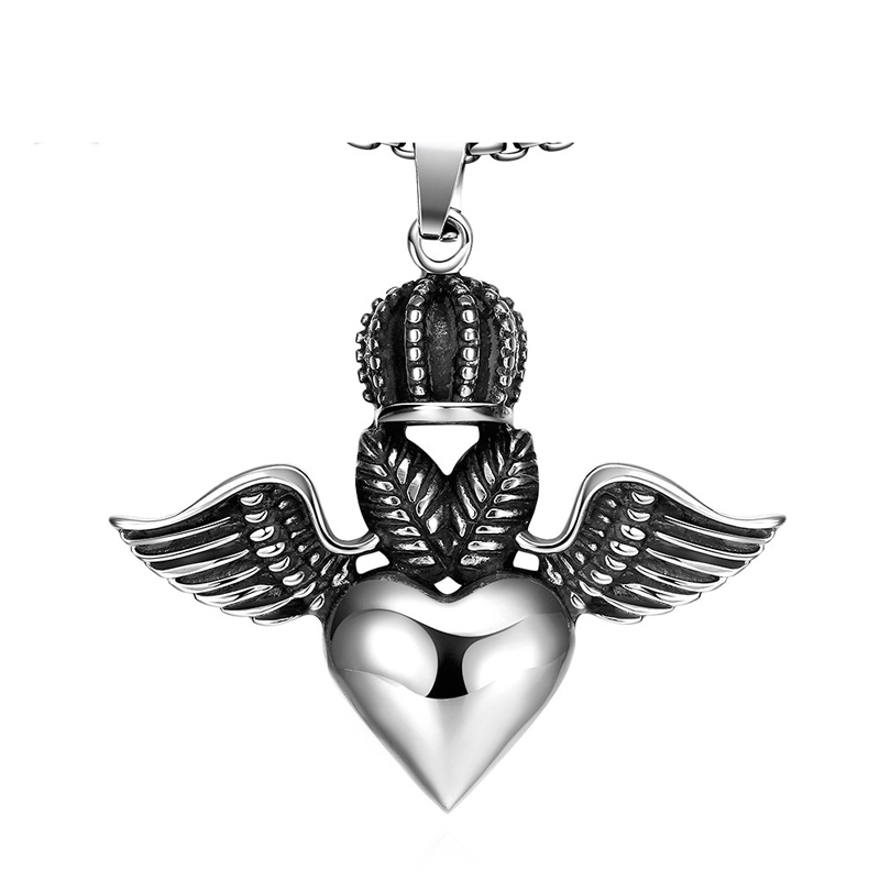 High Quality New Love Titanium Necklace Chain Stainless Steel Vintage with Heart Wngs Pendant & Necklace for Men