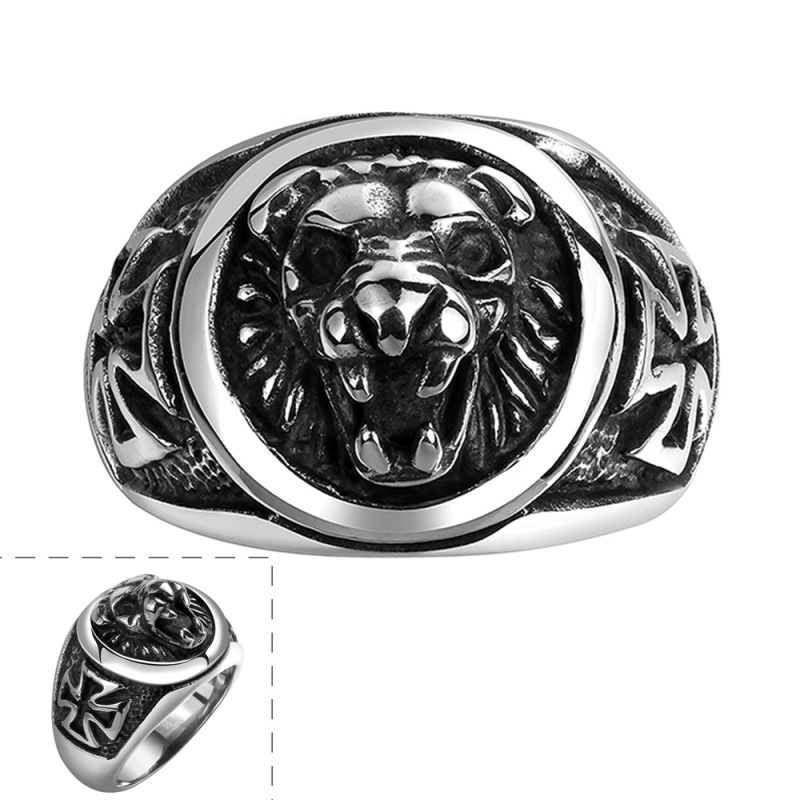Punk Style Iron Cross Lion Ring Animals Jewelry Engravable Carving Lions Heavy Biker Ring for Men