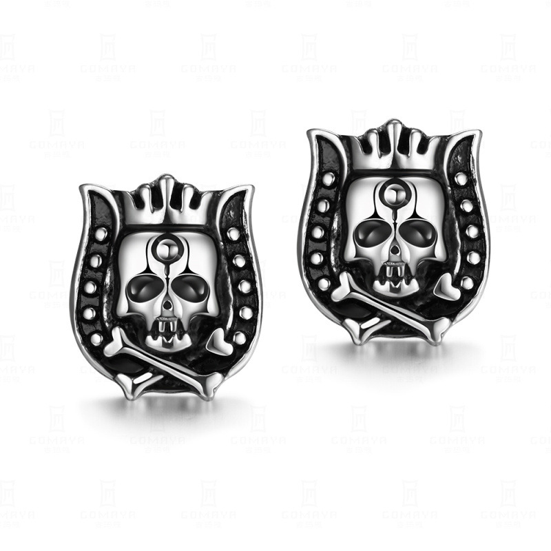 Fashion Jewelry Skull Stud Earrings Punk Titanium Gift Accessories Punk Hip-Hop Skull Earrings for Men