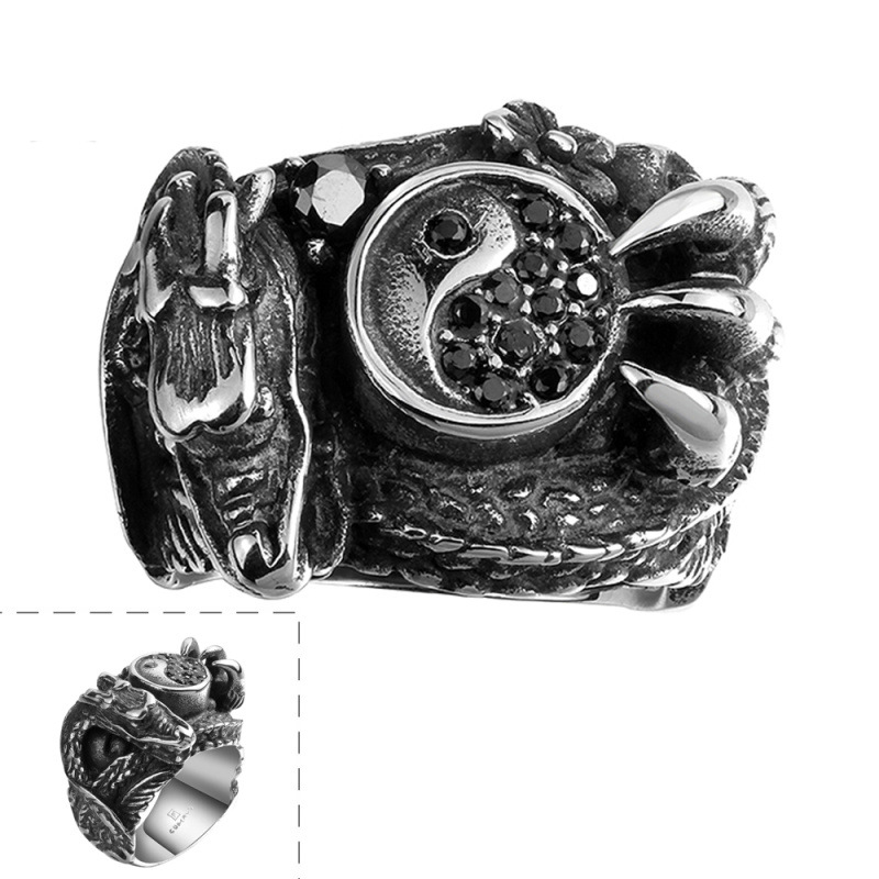 Retro Cool Dragon Titanium Ring Animal Ring Career Silver Plated & Zirconia Gift Men Dress Accessories
