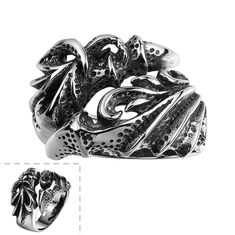 Hot Sale Punk Design Fire Dragon Claw Ring Unisex Flame Dragon 316L Stainless Steel Biker Rings Jewelry Low Pirce for Men