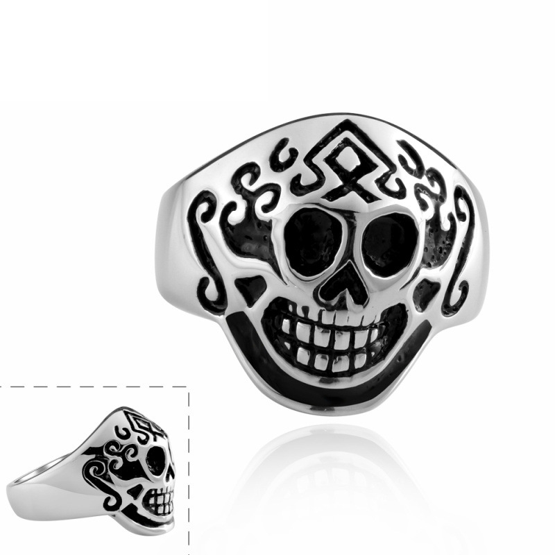 Fashion Vintage Gothic Punk Jewelry Rings 316L Skull Stainless Steel Mask Ring for Men