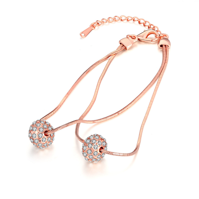 New Design European Style Romantic Jewelry Rose Gold Plated Zircons Balls Pendant Link Chain Bracelets For Women