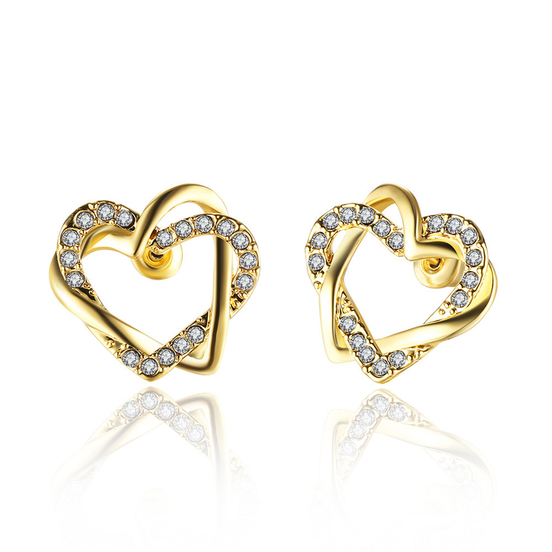 Elegant Jewelry Earrings Are Heart-Shaped Heart Stud Earring Career Rose Gold Plated & Rhinestone Women
