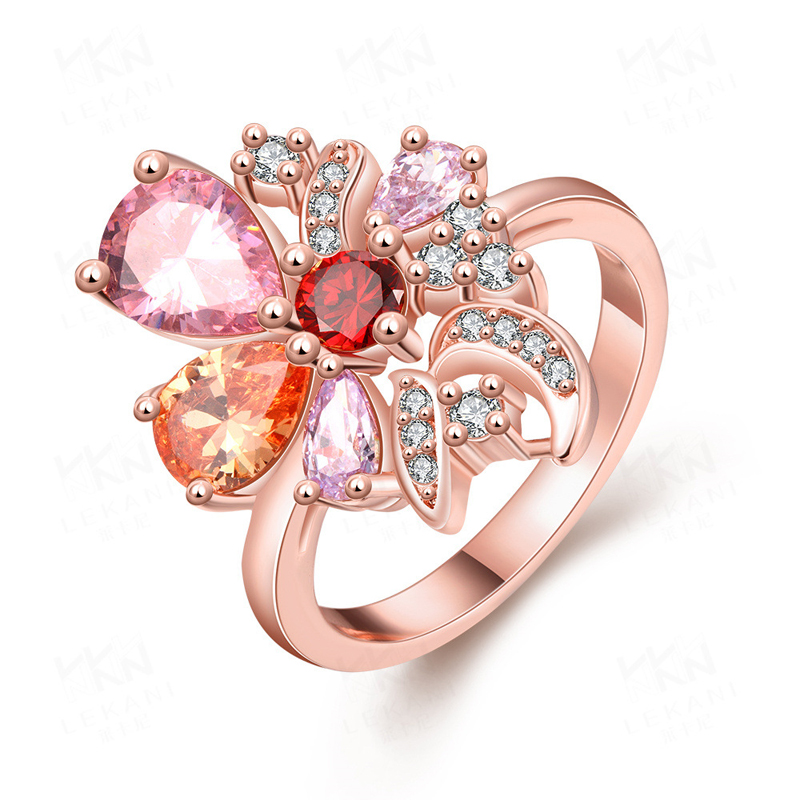 Beautiful Fashion Personality Flower Lady Ring Plant Flower Ring Career Rose Gold Plated & Zirconia Gift for Women
