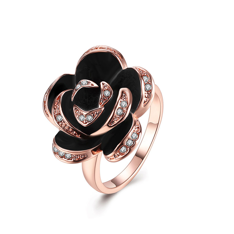 New Fashion Rings Gold Plated Platinum Plated Rose Flower Ring with Austrian Crystal Egagement Wedding Ring for Women